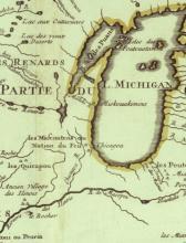 Graff 2507 (Vault) Carte de la Louisiane, 1718, Detail of Lake Michigan, Chicago_o2.jpg